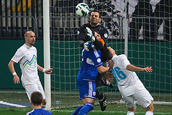 Samir Handanovic of Slovenia vs Angelis Charalampous of Cyprus during football match between National teams of Slovenia and Cyprus in 3rd Round of Group E of FIFA World Cup 2014 Qualification on October 12, 2012 in Stadium Ljudski vrt, Maribor, Slovenia. (Photo by Matic Klansek Velej / Sportida)