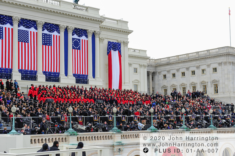 The Brooklyn Tabernacle Choir, the Lee University Choir, Pershings Own trumpeters, and photographers on the west front of the Us  Capitol at the 57th Presidential Inauguration of President Barack Obama at the U.S. Capitol Building in Washington, DC January 21, 2013.