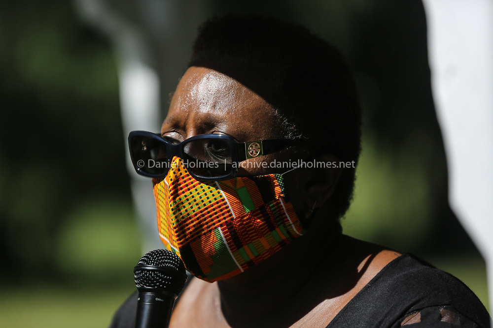 (6/14/20, FRAMINGHAM, MA) Framingham Mayor Yvonne Spicer speaks during a Black Lives Matter event at Cushing Memorial Park in Framingham on Sunday. [Daily News and Wicked Local Photo/Dan Holmes]