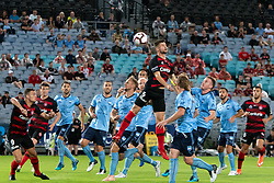 December 15, 2018 - Sydney, NSW, U.S. - SYDNEY, NSW - DECEMBER 15: Western Sydney Wanderers defender Brendan Hamill (5) goes up for the ball at the Hyundai A-League Round 8 soccer match between Western Sydney Wanderers FC and Sydney FC at ANZ Stadium in NSW, Australia on December 15, 2018. (Photo by Speed Media/Icon Sportswire) (Credit Image: © Speed Media/Icon SMI via ZUMA Press)