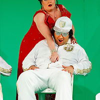 Picture shows : Tiziano Bracci as Mustafa and Karen Cargill as Isabella..Picture  ©  Drew Farrell Tel : 07721 -735041..A new Scottish Opera production of  Rossini's 'The Italian Girl in Algiers' opens at The Theatre Royal Glasgow on Wednesday 21st October 2009..(Soap) opera as you've never seen it before.Tonight on Algiers.....Colin McColl's cheeky take on Rossini's comic opera is a riot of bunny girls, beach balls, and small screen heroes with big screen egos. Set in a TV studio during the filming of popular Latino soap, Algiers, the show pits Rossini's typically playful and lyrical music against the shoreline shenanigans of cast and crew. You'd think the scandal would be confined to the outrageous storylines, but there's as much action off set as there is on.....Italian bass Tiziano Bracci makes his UK debut in the role of Mustafa. Scottish mezzo-soprano Karen Cargill, who the Guardian called a 'bright star' for her performance as Rosina in Scottish Opera's 2007 production of The Barber of Seville, sings Isabella..Cast .Mustafa...Tiziano Bracci.Isabella..Karen Cargill.Lindoro...Thomas Walker.Elvira...Mary O'Sullivan.Zulma...Julia Riley.Haly...Paul Carey Jones.Taddeo...Adrian Powter..Conductors.Wyn Davies.Derek Clarke (Nov 14)..Director by Colin McColl.Set and Lighting Designer by Tony Rabbit.Costume Designer by Nic Smillie..New co-production with New Zealand Opera.Production supported by.The Scottish Opera Syndicate.Sung in Italian with English supertitles..Performances.Theatre Royal, Glasgow - October 21, 25,29,31..Eden Court, Inverness - November 7. .His Majesty's Theatre, Aberdeen  - November 14..Festival Theatre,Edinburgh - November 21, 25, 27 ...Note to Editors:  This image is free to be used editorially in the promotion of Scottish Opera. Without prejudice ALL other licences without prior consent will be deemed a breach of copyright under the 1988. Copyright Design and Patents Act  and will be subject to payment or legal action, where appropriate..Furthe