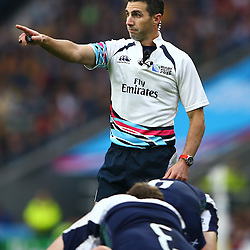 LONDON, ENGLAND - OCTOBER 18:Referee Craig Joubert (South Africa) during the Rugby World Cup Quarter Final match between Australia v Scotland at Twickenham Stadium on October 18, 2015 in London, England. (Photo by Steve Haag)