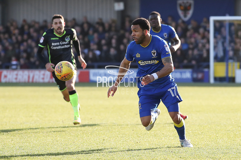 AFC Wimbledon striker Andy Barcham (17) receiving the ball and dribbling down the line during the EFL Sky Bet League 1 match between AFC Wimbledon and Bristol Rovers at the Cherry Red Records Stadium, Kingston, England on 17 February 2018. Picture by Matthew Redman.