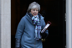 © Licensed to London News Pictures. 30/01/2019. London, UK. Prime Minister Theresa May leaves 10 Downing Street as she heads to Parliament for PMQs. Theresa May has said she will return to Brussels to seek further concessions from the EU. Photo credit: Rob Pinney/LNP
