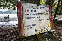 Sign for Biesanz Beach near Manuel Antonio National Park, Costa Rica.