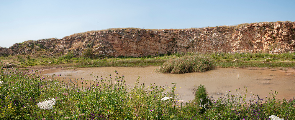 Natural winter pool in the remains of a depleted quarry now a nature reserve Photographed near Rosh Haayin, Israel