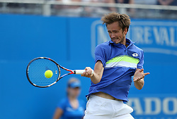 Russia's Daniil Medvedev in action against Bulgaria's Grigor Dimitrov during day five of the 2017 AEGON Championships at The Queen's Club, London.