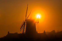 © Licensed to London News Pictures. 03/09/2018. Cley Next The Sea UK. The sun shines through the Fantail of the 19th century Cley Windmill this morning in Cley next the Sea on the Norfolk coast. Photo credit: Andrew McCaren/LNP