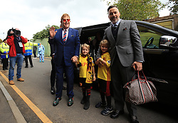 16 September 2017 -  Premier League - Watford v Manchester City - Elton John with Partner David Furnish arrive at Vicarage Road with their Sons - Photo: Marc Atkins/Offside