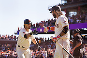 San Francisco Giants left fielder Angel Pagan (16) celebrates a home run against the Los Angeles Dodgers  with shortstop Brandon Crawford (35) at AT&T Park in San Francisco, Calif., on October 1, 2016. (Stan Olszewski/Special to S.F. Examiner)