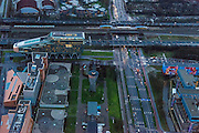 Nederland, Noord-Holland, Amsterdam, 16-01-2014; Zuidas in de avondschemering ter hoogte van de Amstelveenseweg. Hoofdkantoor ING, rechts VUmc.<br /> Zuid-as, 'South axis', financial center in the South of Amsterdam at twilight. ING Headquarters and Ring Road A10. Amsterdam equivalent of 'the City', financial district. <br /> luchtfoto (toeslag op standaard tarieven);<br /> aerial photo (additional fee required);<br /> copyright foto/photo Siebe Swart.