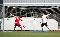 Brora Rangers Steven McKay misses a chance.<br /> Edinburgh City 1 v 1 Brora Rangers, 1st leg, Pyramid Playoffs at Meadowbank, 25/4/2015.