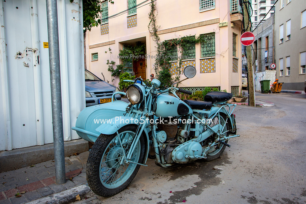 painted BSA Motorbike with sidecar . BSA Company Limited is a motorcycle manufacturer