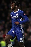 Michy Batshuayi of Chelsea celebrates after scoring Chelsea's 4th goal. The Emirates FA Cup 4th round match, Chelsea v Brentford at Stamford Bridge in London on Saturday 28th January 2017.<br /> pic by Steffan Bowen, Andrew Orchard sports photography.
