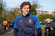 AFC Wimbledon defender Mads Bech Sorensen (26) arriving for the game during the EFL Sky Bet League 1 match between AFC Wimbledon and Fleetwood Town at the Cherry Red Records Stadium, Kingston, England on 8 February 2020.