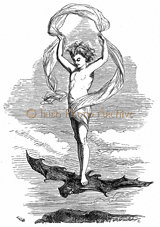 Ariel on his way back to his master, Prospero, to report on the shipwreck of King  Alonso and his party.  Illustration for 'The Tempest' for an edition of Shakespeare's Works published 1856-1858. Engraving.
