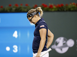 March 7, 2019 - Los Angeles, California, U.S - Eugenie Bouchard of Canada, reacts during the women singles first round match of the BNP Paribas Open tennis tournament against Kristen Flipkens of Belgium, on Thursday, March 7, 2019 in Indian Wells, California. (Credit Image: © Ringo Chiu/ZUMA Wire)
