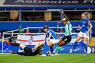 Birmingham City goalkeeper Emily Ramsey (21) blocks ball during the FA Women's Super League match between Birmingham City Women and Brighton and Hove Albion Women at St Andrews, Birmingham United Kingdom on 12 September 2021.