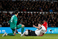 Kelle Roos of Derby County saves a Odion Ighalo of Manchester United shot during the FA Cup match at the Pride Park Stadium, Derby. Picture date: 5th March 2020. Picture credit should read: Darren Staples/Sportimage