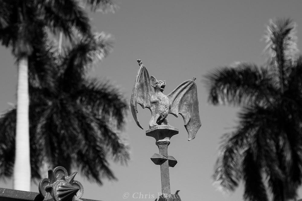 Bat sculpture atop wrought-iron railing, Christopher Columbus Cemetery (Necropolis Cristobal Colon), Havana, Cuba