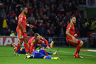 Aaron Ramsey of Wales ©  scores his teams 1st goal. Wales v Andorra, Euro 2016 qualifying match at the Cardiff city stadium  in Cardiff, South Wales  on Tuesday 13th October 2015. <br /> pic by  Andrew Orchard, Andrew Orchard sports photography.