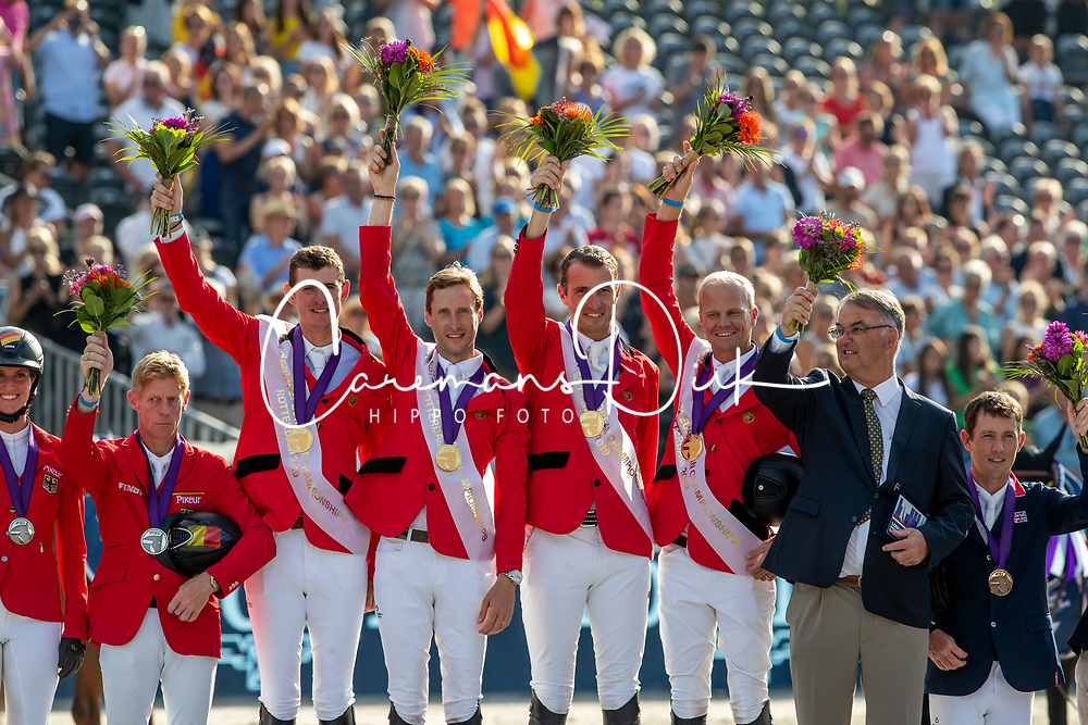 Team Belgium, Wathelet Gregory, Verlooy Jos, Devos Pieter, Guery Jerome, Weinberg Peter<br /> European Championship Jumping<br /> Rotterdam 2019<br /> © Hippo Foto - Stefan Lafrentz