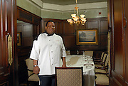 Chef Todd Richards in the entrance to the Al Capone Room, a private dining area at The Oakroom in the Seelbach Hotel in Louisville, Ky.