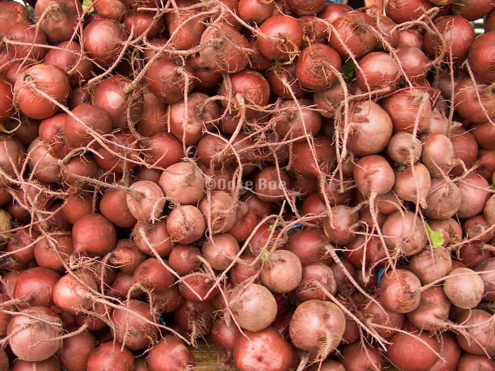 close up of organic beets displayed at a green market