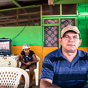 Lethem, Guyana. Osvaldinho is from Santarem, Parà state in Brazil. He opened a Brazilian restaurant here in Lethem 3 years ago for the Brazilians crossing the border everyday to shop in Guyana. His son and wife lives in Bonfim, on the Brazilian side of the border