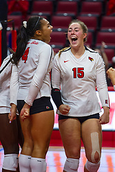 BLOOMINGTON, IL - September 15:Emmy Ogogor and Monica Miller during a college Women's volleyball match between the ISU Redbirds and the Marquette Golden Eagles on September 15 2019 at Illinois State University in Normal, IL. (Photo by Alan Look)