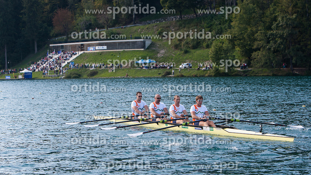 Iztok Cop (stroke), Jüri Jaanson, Vaclav Chalupa and Davor Mizerit (bow) during rowing at Slovenian National Championship and farewell of Iztok Cop, on September 22, 2012 at Lake Bled, Ljubljana Slovenia. (Photo By Matic Klansek Velej / Sportida)