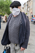 man with improvised mask during Covid 19 crisis France Limoux April 2020