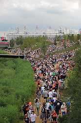 07.08.2012 Stratford, England. A general view of the Olympic Park, the London 2012 Olympic Games, Olympischer Park, Stadion, Gelaende, Uebersicht, Olympiastadion, .© pixathlon