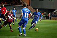Bradford City's David Ball (40) clears the ball from Peterborough United midfielder Louis Reed (11) during the EFL Sky Bet League 1 match between Peterborough United and Bradford City at The Abax Stadium, Peterborough, England on 17 November 2018.