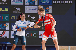 Elisa Balsamo (ITA) and Emma Norsgaard Jorgensen (DEN) on the podium at the 2020 UEC Road European Championships - Under 23 Women Road Race, a 81.9 km road race in Plouay, France on August 26, 2020. Photo by Sean Robinson/velofocus.com