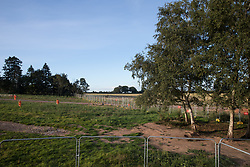 A strip of land from which woodland has been removed is viewed from Crackley Woods Protection Camp on 24th August 2020 in Kenilworth, United Kingdom. Anti-HS2 activists continue to protest against and attempt to prevent or delay works in connection with the controversial HS2 high-speed rail link from a series of camps along the Phase One route from Euston to north of Birmingham.