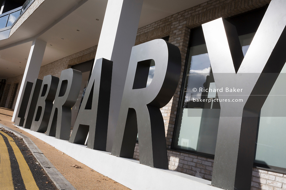 The lettering outside Southwark's newest library, near East Dulwich station, on 10th February 2019, in London, England.