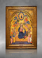 Gothic altarpiece of Madonna Of Humility With The Eternal Father In Glory, by Cenni di Francesco di Ser Cenni of Florence, circa 1375-80, tempera and gold leaf on wood. The Madonna and Child are depicted with the 12 apostles. National Museum of Catalan Art, Barcelona, Spain, inv no: MNAC  212805. Against a grey art background. . .<br /> <br /> If you prefer you can also buy from our ALAMY PHOTO LIBRARY  Collection visit : https://www.alamy.com/portfolio/paul-williams-funkystock/gothic-art-antiquities.html  Type -     MANAC    - into the LOWER SEARCH WITHIN GALLERY box. Refine search by adding background colour, place, museum etc<br /> <br /> Visit our MEDIEVAL GOTHIC ART PHOTO COLLECTIONS for more   photos  to download or buy as prints https://funkystock.photoshelter.com/gallery-collection/Medieval-Gothic-Art-Antiquities-Historic-Sites-Pictures-Images-of/C0000gZ8POl_DCqE