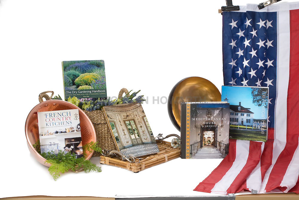 American Flag with interior decorating style books