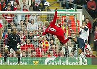 Photo: Aidan Ellis.<br /> Liverpool v West Ham Utd. The Barclays Premiership.<br /> 29/10/2005.<br /> Liverpool's Djibril Cisse attempts an acrobatic shot on the West Ham Goal