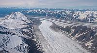 Aerial of Gates and Kennicott Glaciers merging in Wrangell-St. Elias National Park, Alaska.