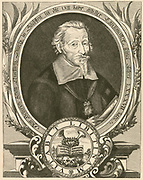 'Heinrich Schutz (1585-1672) German composer and organist , one of the most important composers of the 17th century and preeminent German composer before J S Bach. Engraving.'