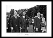 President John F. Kennedy pictured with Éamon de Valera at a garden party at Áras an Uachtaráin.<br /> <br /> 27th June 1963