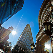 Afternoon sunshine on Grant and Market Streets in Mid-Market area of San Francisco.
