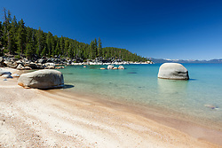 """""""Sandy Beach at Lake Tahoe"""" - This sandy beach was photographed on the East shore of Lake Tahoe."""