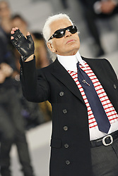 German fashion designer Karl Lagerfeld appears on the runway after his Chanel's Haute Couture Spring-Summer 2007 collection presentation held at 'Le Grand Palais', in Paris, France, on January 23, 2007. Photo by Khayat-Nebinger-Orban-Taamallah/ABACAPRESS.COM