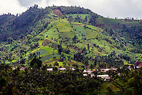 Indonesia, Sulawesi, Rurukan. Agriculture and a village in the Rurukan area not far from Tomohon in the Minahasa highland.
