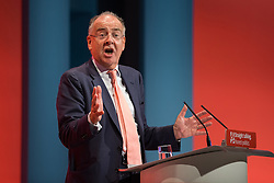 © Licensed to London News Pictures . 30/09/2015 . Brighton , UK . CHARLES FALCONER ( Baron Falconer of Thoroton ) speaks at the conference . The 2015 Labour Party Conference . Photo credit : Joel Goodman/LNP