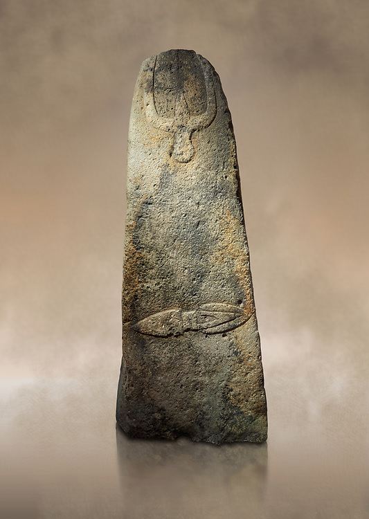 Late European Neolithic prehistoric Menhir standing stone with carvings on its face side. The representation of a stylalised male figure starts at the top with a long nose from which 2 eyebrows arch around the top of the stone. below this is a carving of a falling figure with head at the bottom and 2 curved arms encircling a body above. at the bottom is a carving of a dagger running horizontally across the menhir.  Excavated from Piscina 'E Sali V site,  Laconi. Menhir Museum, Museo della Statuaria Prehistorica in Sardegna, Museum of Prehoistoric Sardinian Statues, Palazzo Aymerich, Laconi, Sardinia, Italy. Warm art background.<br /> <br /> Visit our PREHISTORIC PLACES PHOTO COLLECTIONS for more  photos to download or buy as prints https://funkystock.photoshelter.com/gallery-collection/Prehistoric-Neolithic-Sites-Art-Artefacts-Pictures-Photos/C0000tfxw63zrUT4