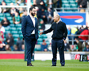 Andy Farrell Head Coach of Ireland having words with England's Coach Eddie Jones before kick offduring the Guinness Six Nations between England and Ireland at Twickenham  Stadium, Sunday, Feb. 23, 2020, in London, United Kingdom. (ESPA-Images/Image of Sport)
